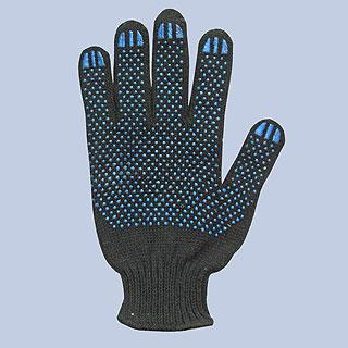 Перчатки хб черные и белые с пвх (пятинитка)